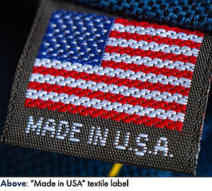 """Made in USA"" textile label"